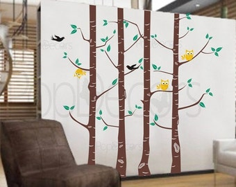 On sale - Owl and Tree decals - 92 inch H - Vinyl Wall Decals Stickers Removable Home Decor by Pop Decors