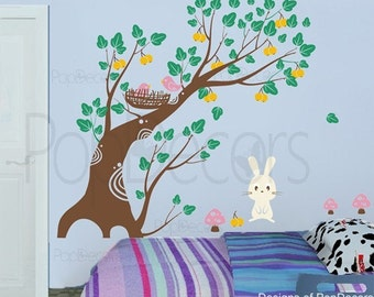 Bunny and Fruit Tree-71inch H- Bedroom Wall  Decals Stickers Home Decor by Pop Decors