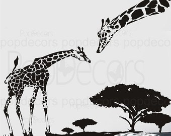 Animal Wall Decals Giraffe Stickers Kids Wall Decors Baby Boy Decal- Giraffe Mom and Child -Designed by Pop Decors