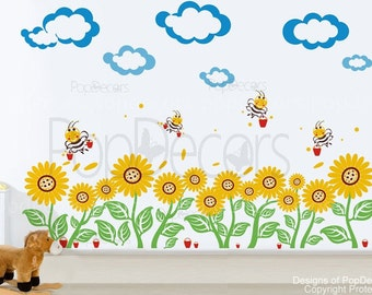 Sunflowers Wall Decal Bees Wall Decal Flower Wall Decors Floral Wall Stickers- Sunflowers and bees pt0104