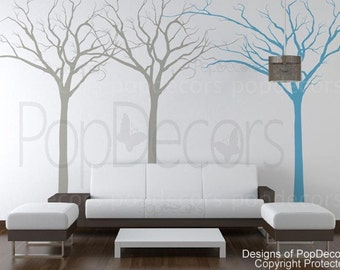 """Modern Trees Decals Winter Trees Wall Vinyls Trees Wall Murals Trees Wall Art- Fantasy trees (102"""" H) - Designed by Pop Decors"""