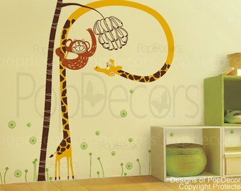 """Cute monkey catches banana (71"""" H) - Removable Vinyl wall decals for boys girls nursery room"""
