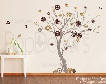Tree Wall Decals- Music Tree - Modern Vinyl Wall Stickers Room Decors