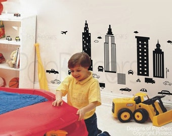 Boys Room Wall Decals Car City Skyline Stickers Kids Wall Decors- Modern City -Designed by Pop Decors pt0138
