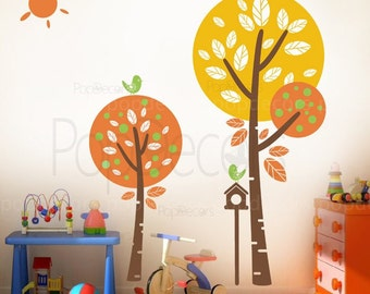 """Nursey Tree Wall Decal Kids Room Decor Children Decal- Sunshine in my garden (57"""" H) -Removable Wallpaper Designed by Pop Decors"""