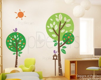 """Kids Tree Wall Decal, Playroom Wall Stickers, Children Wall Art, Sunshine in my garden (71"""" H)- Tree Decals Wall Art Stickers Home Decor"""