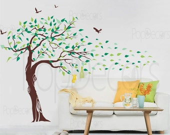 """Vinyl Wall Decals Trees Wall Decal Baby Girl Room Decal Flying Birds Decal- Beautiful Tree(78"""" H) -Designed by Pop Decors"""
