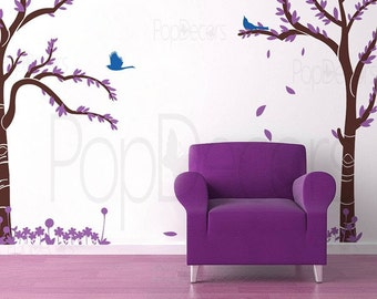 Love Twin Tree - Removable Vinyl  Wall  Decals Art , Stickers, Home Decor by Pop Decors