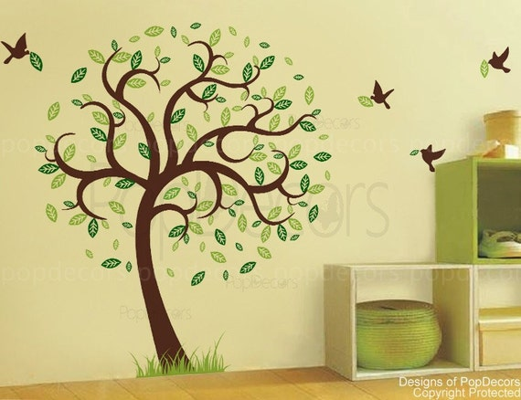 """Living Room Nature Tree Wall Decal Flying Birds Sticker Grass- Hope Tree with Flying Birds(78""""H) -Removable Vinyl Wall Graphics  pt0131"""