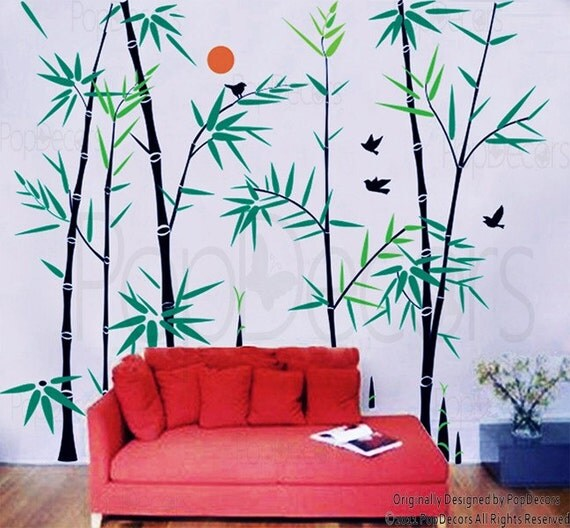 Bamboo Tree Wall Decals Oriental Style Wall Stickers Living