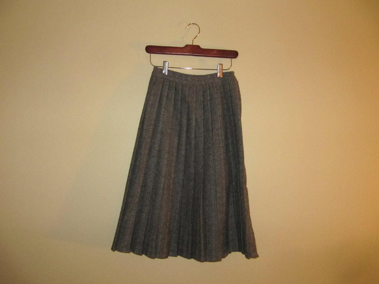 sale vintage pleated grey tweed skirt size xs by