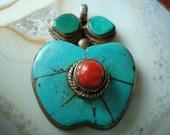Tibetan Turquoise Coral Apple Pendant