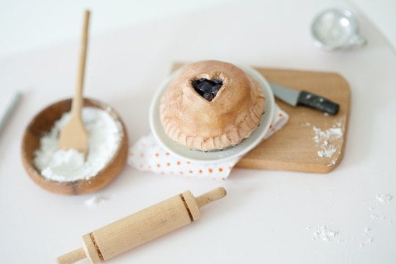 Miniature 1:6 Scale Double-Crust Blueberry Pie / Made to Order