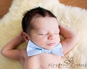 Light Baby Blue Boys Bow Tie - White Polka Dots
