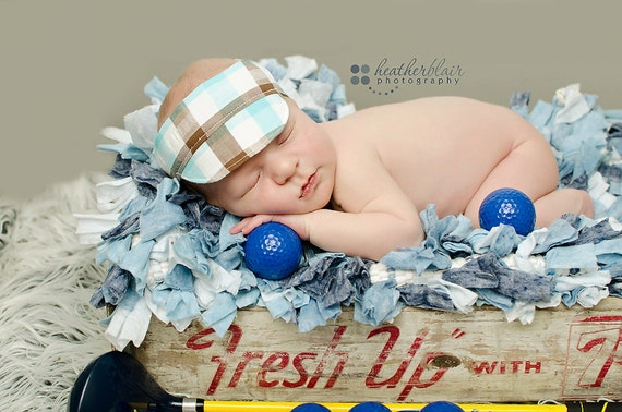 Plaid Visor Hat- Newborn & Toddler Photo Prop
