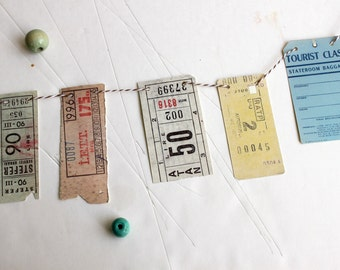 Vintage ephemera inspired paper garland, travel tickets and memorabilia - Sweet Stay At Home