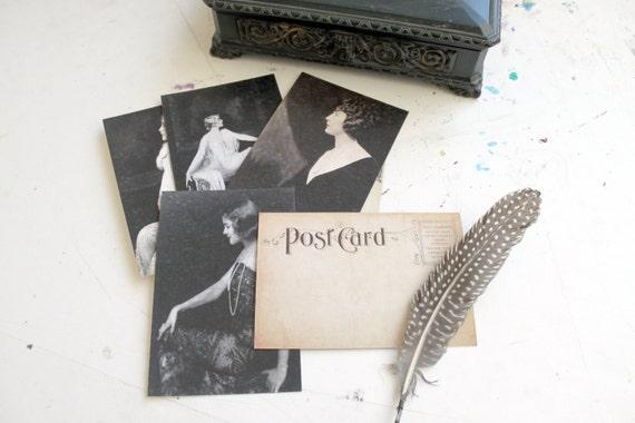 Vintage inspired dark lady postcard set - Madame Loves The Dark - Set of 8 postcards