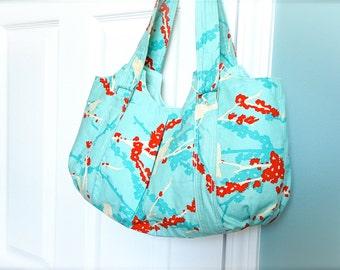 Everyday Purse - Large Tote - Shoulder Purse - Blue Purse - Shoulder Bag - Joel Dewberry Turquoise Purse