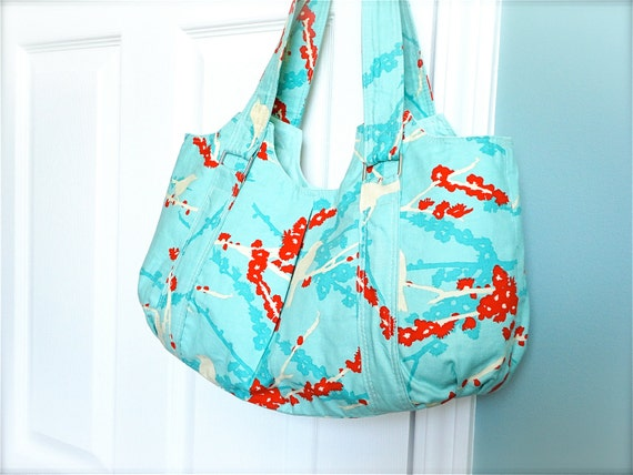 SALE - Everyday Purse, double strap - Joel Dewberry Aviary 2 Sparrows in Aqua