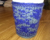 Hand Knitted Cup Snuggie Blue and Gray