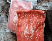 Bear Sachet Woodblock Printed, Filled with Organic Herbs for  Healing and Protection