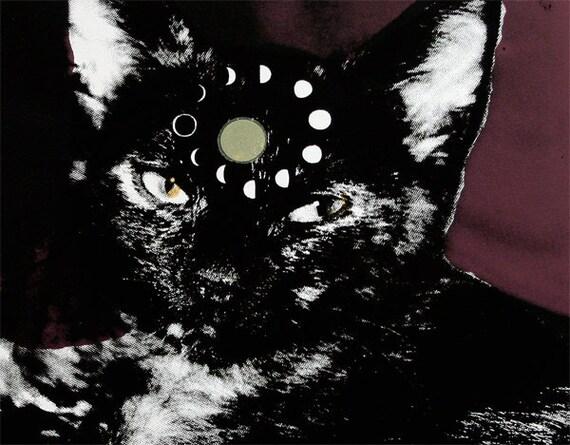 Cycles of the Moon Mystic Cat Print Archival Screenprint