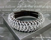 Unisex Chainmaille Cuff Bracelet  - Chocolate Leather and European Weave