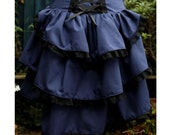 navy blue with black lace bustle skirt with dropped waist, back corset style lacing