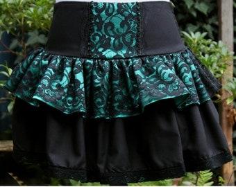 SALE Gothic Lolita skirt. emerald green satin, black lace rara 80s skirt last one