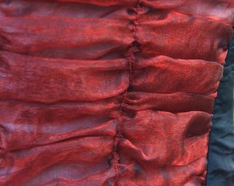 halloween Gothic Lolita burlesque corset . Black taffeta bodice with see-through red organza back panel
