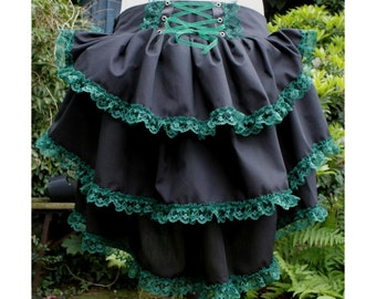black bustle skirt with green lace . back corset lacing any size any colour