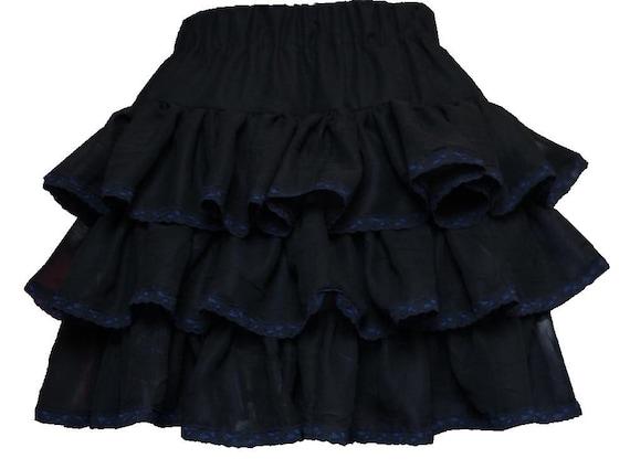 Lolita rara skirt Black chiffon with black & blue lace edging. 80s ...