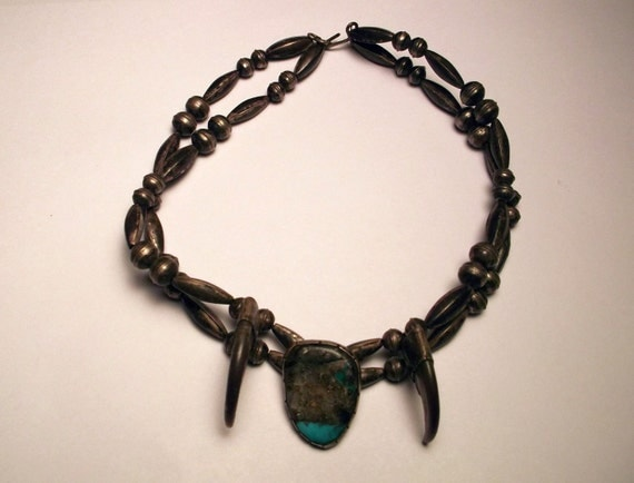 Rare Sterling Silver Bear Claw & Turquoise Choker Native American Dead Pawn Genuine bear claws