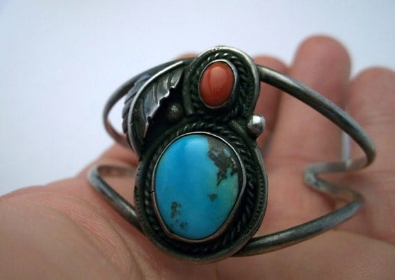 Native American Dead Pawn Sterling Silver, Turquoise & Coral Cuff. Genuine Turquoise, Blood Coral Bracelet