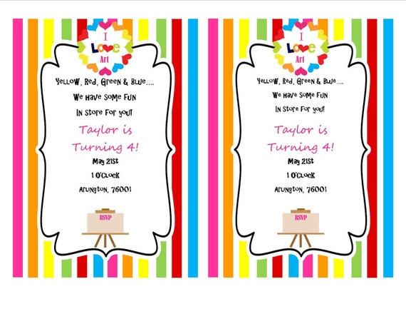Picasso Art Party Invitation