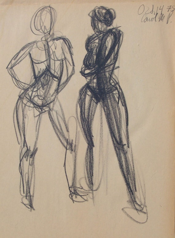 Mature Nude Figure Drawings of Women in group of 4