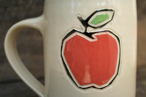 Apple a Day hand thrown and painted mug