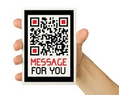 OOAK QR Code Message - Personalized  -   5x7 Technology Greeting Card - Computer Geekery - Cyber Monday