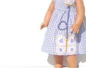 American Girl Doll Clothes. 18 inch Doll Dress. Upcycled Clothing. Purple White Gingham. Butterfly. Child's Play Imagination.