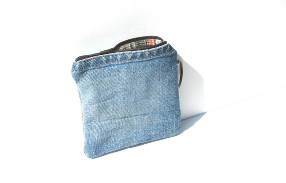 Christmas in July SALE Recycled Denim Wallet with fall plaid lining and brown zipper Ready to Ship