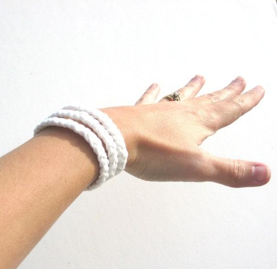 Fabric Cuff Bracelet in snow white braids Ready to Ship