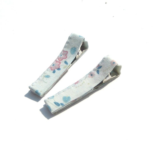 Baby Hair Clips. Lightweight. Soft blue with spring flowers. Set of 2. ONLY 1 set AVAILABLE.
