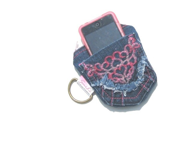 Gadget Case. iPod Case. Coin Purse. Recycled Denim Wallet. Zipper Pouch. OOAK.