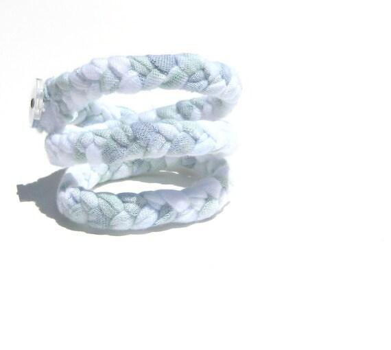 Braided Bracelet. Fabric Bracelet. Last Minute Christmas Gift. on SALE. READY to SHIP. Triple Wrap Bracelet. Recycled Clothing Fabric.