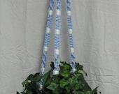 Light Blue 60 Inch White Beads Macrame Plant Hanger