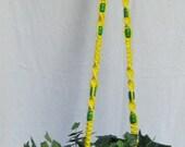 Bright Yellow 59 Inch Green Beads Macrame Plant Hanger