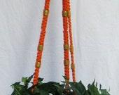 Orange  56 Inch  Natural Beads Macrame Plant  Hanger