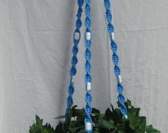 Ocean Blue 58 Inch White Beads Macrame Plant Hanger