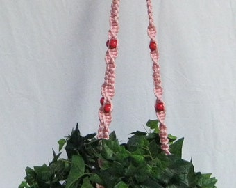Light Pink 57 Inch Dark Pink Beads Macrame Plant Hanger