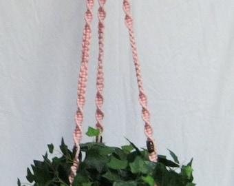 Pink  52 1/2 Inch Brown Beads Macrame Plant Hanger